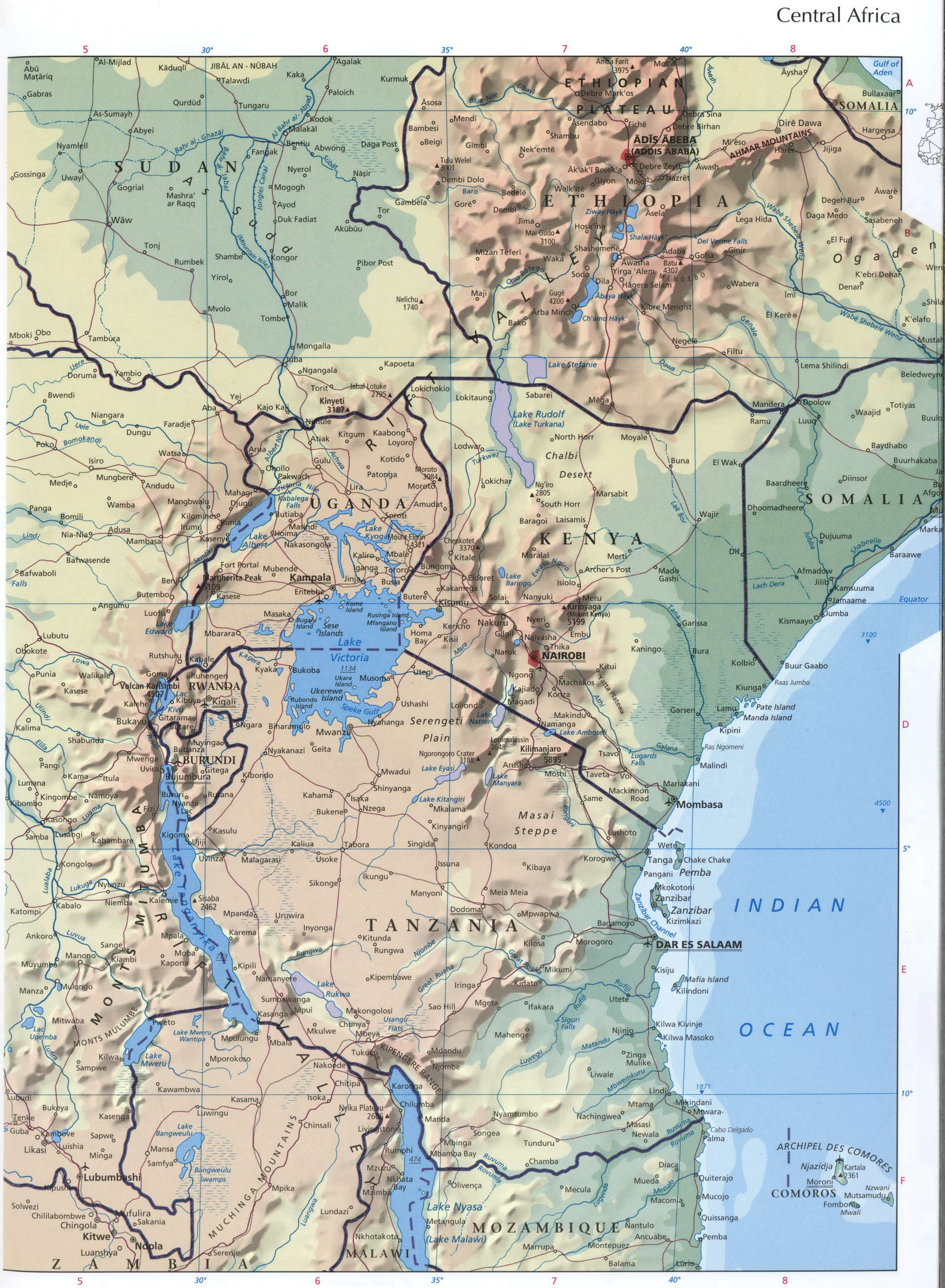 Central Africa map detailed